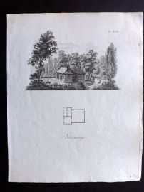 Anon C1800 Antique Print. Study of a Small Church 49
